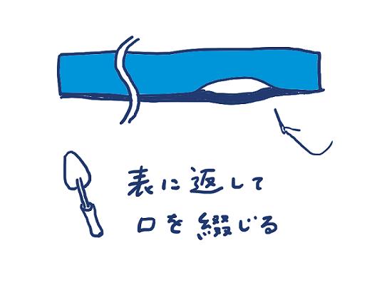 半幅帯の作り方④表に返して口を綴じる