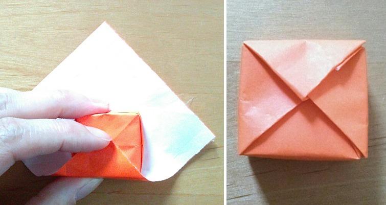 スクエア包み(風呂敷包み)の折り筋を付けます