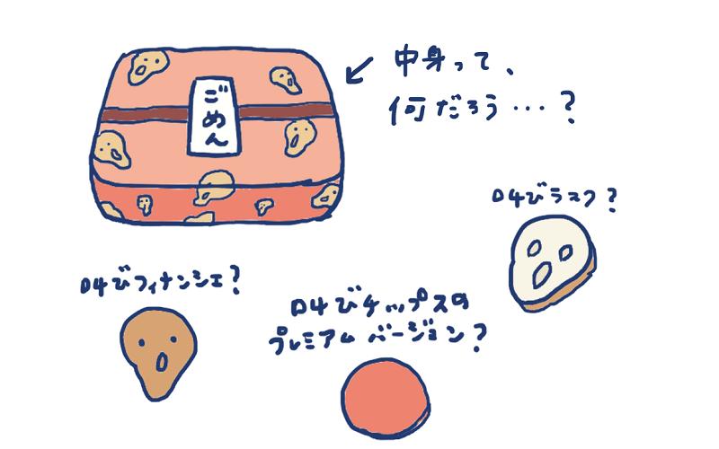 ムンク店長印の菓子折りの中身、何だろう?