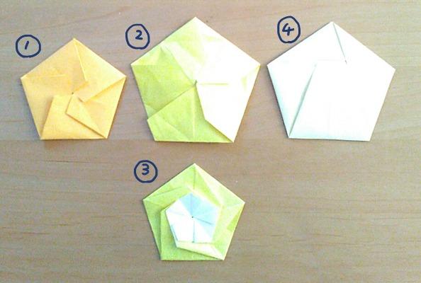 普通サイズの折り紙で作るポチ袋 五角形