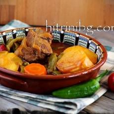 Гювеч по селски с месо в керамичен съд