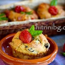 Мъфини с маслини и чери домати
