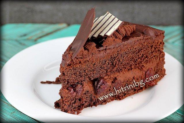 торта с шоколад и вишни
