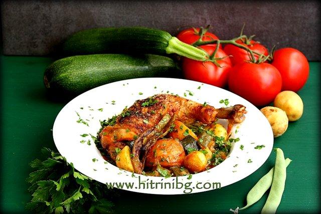 пилешко със зеленчуци на фурна