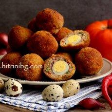 Яйца по шотландски с пъдпъдъчи яйца