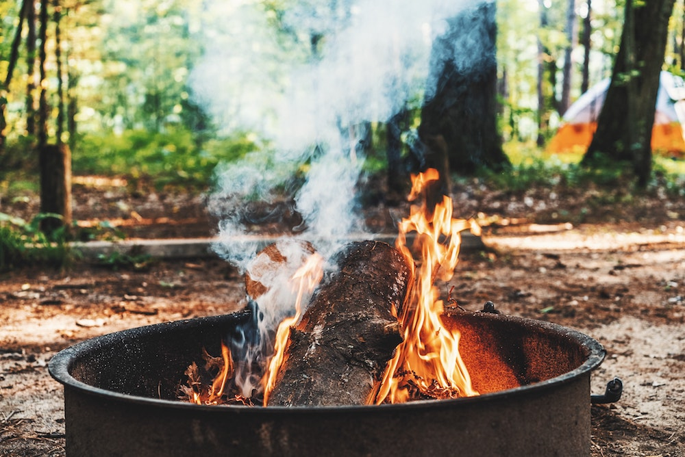 Fire and tent