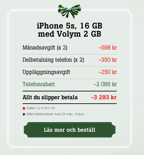 Teletvå exempel iPhone