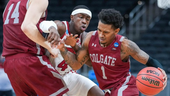 Hogs take care of Colgate after nerve-wracking start for fans