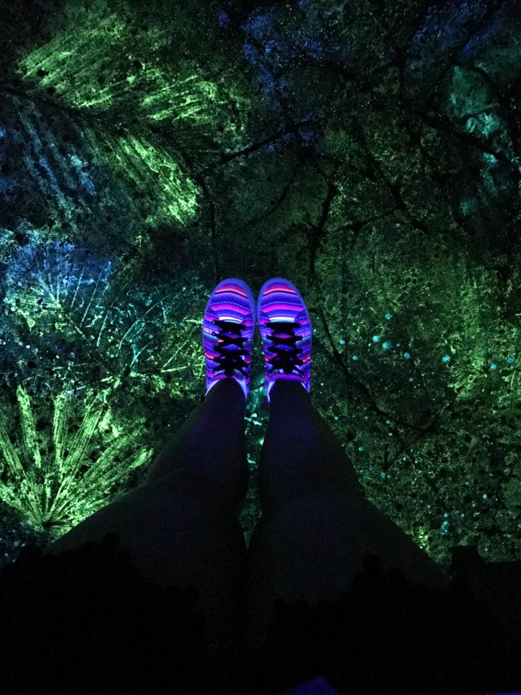 At night, glowing sidewalks light the way in Disney's Pandora - The World of Avatar