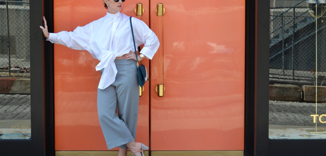 Street Style at New York Fashion Week Outfit: Grey Culottes and Wabisabi Button Up Shirt from Narrow Arrow Clothing