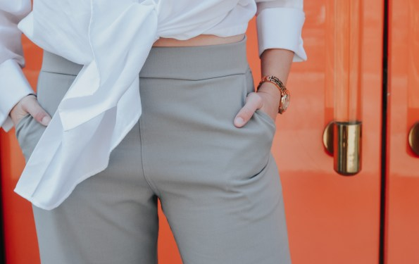 Narrow Arrow grey culottes and white shirt