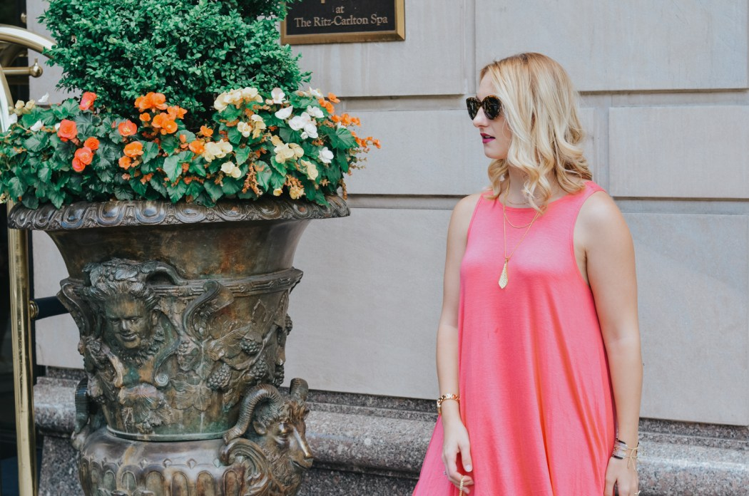 Glamorous, eco-friendly layered necklace from sustainable jewelry brand @simplynaturebiogoods and Hygge Living coral maxi dress
