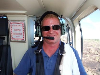 Craig enjoying the chopper flight