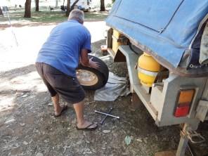 Craig in action - repairing the trailer suspension