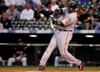 Barry Bonds of the San Francisco Giants launches his 762nd career home run off of Ubaldo Jimenez