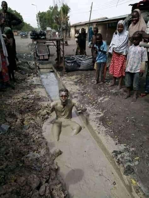 Man soaks himself in gutter