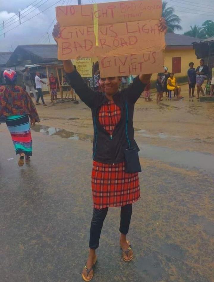 protest on-going in Oyigbo LGA