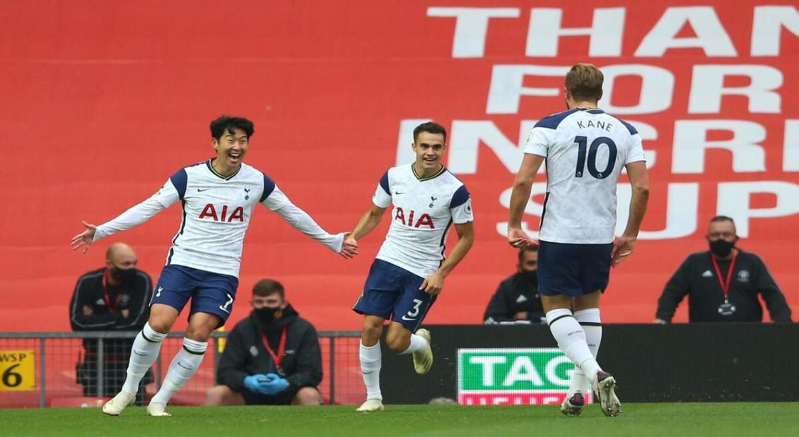Son celebrating his goal against Manchester United