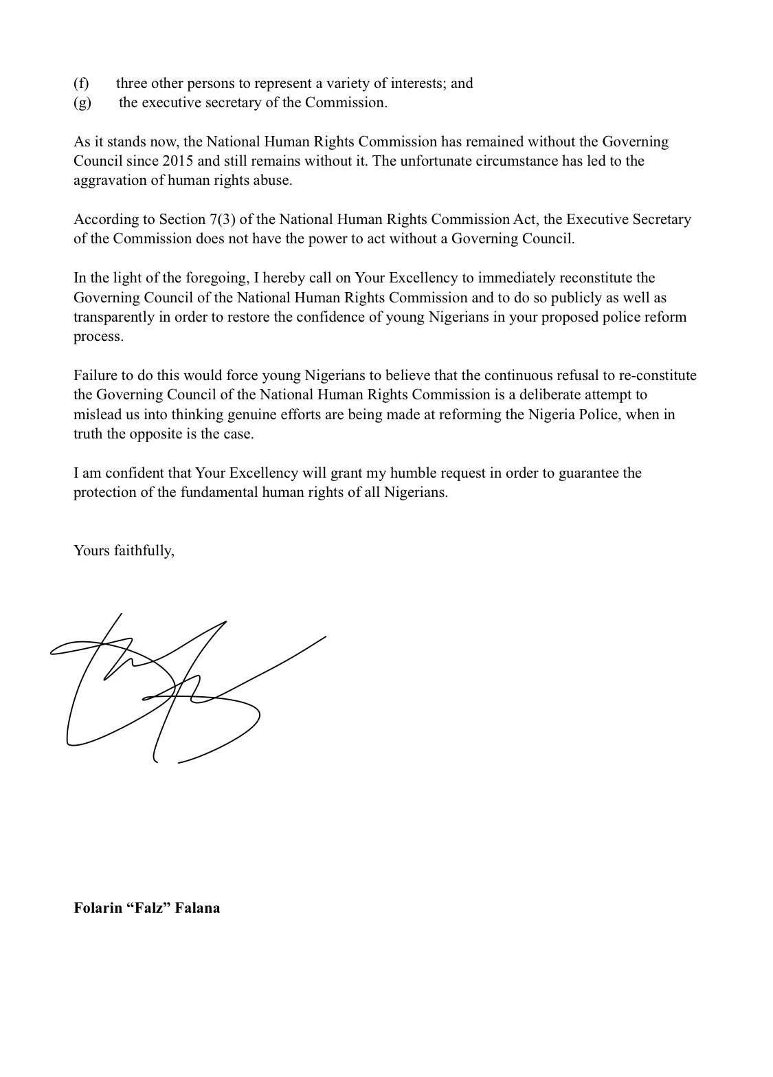 Falz letter to Buhari