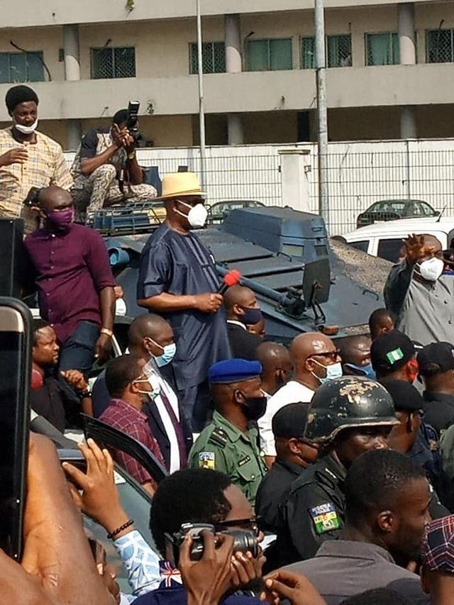 Wike addressing protesters