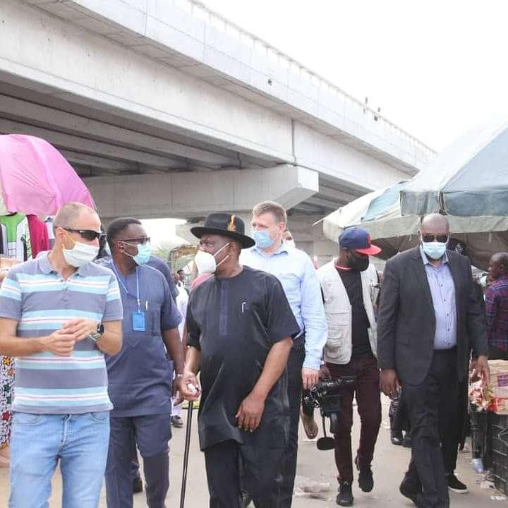 Governor Wike at Rumuokoro bridge