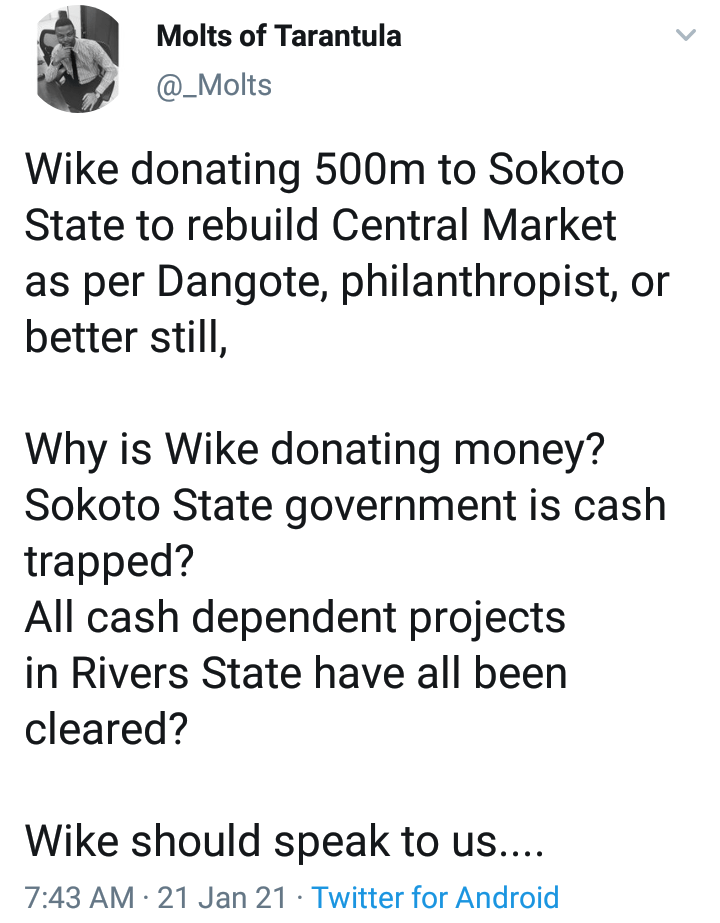Nigerians lambast Wike for donating ₦500 million to Sokoto state