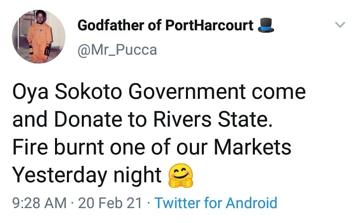 Mile 3 Market: Rivers residents demand for donation from Sokoto Governor