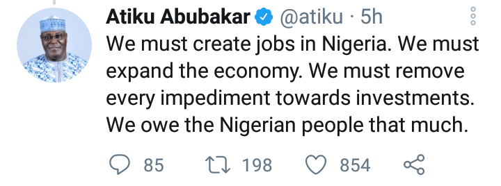 Atiku Abubakar tweet