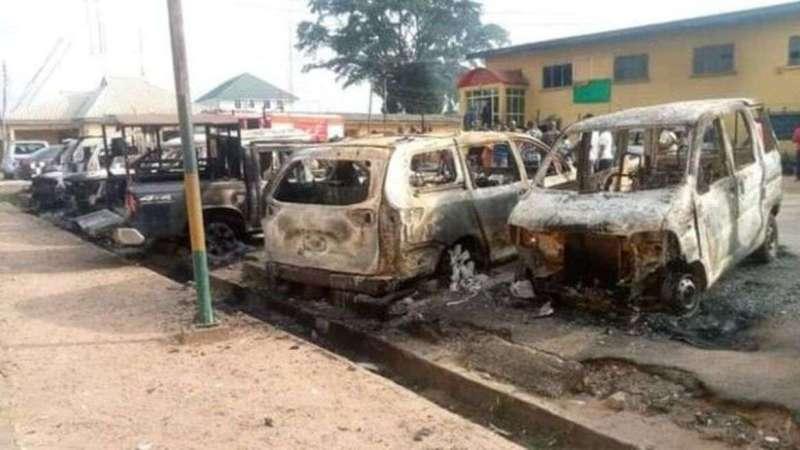 Burnt cars