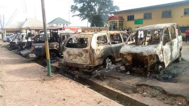 Burnt cars in Imo state