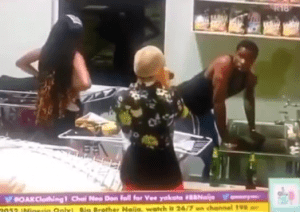 #BBNaija: Nengi left in shock as she walked in on Neo washing Vee's panties (video)
