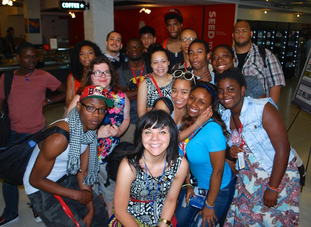 Free Spirit Media program participants with FSM staff member Andrea Hart (center)