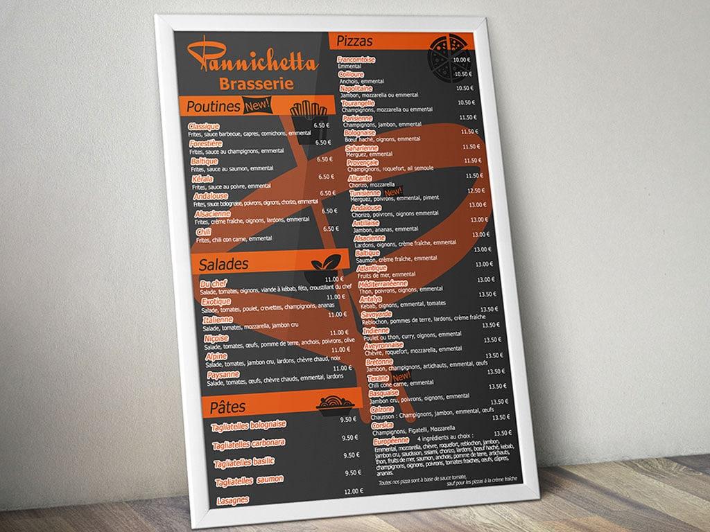 Création d'une affiche menu pour la Pannichetta. par Hive Five Design à Nantes