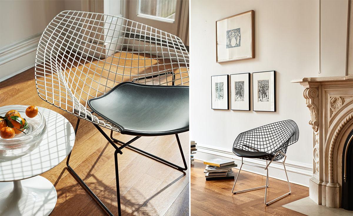 Bertoia Diamond Chair Two Tone With Seat Cushion