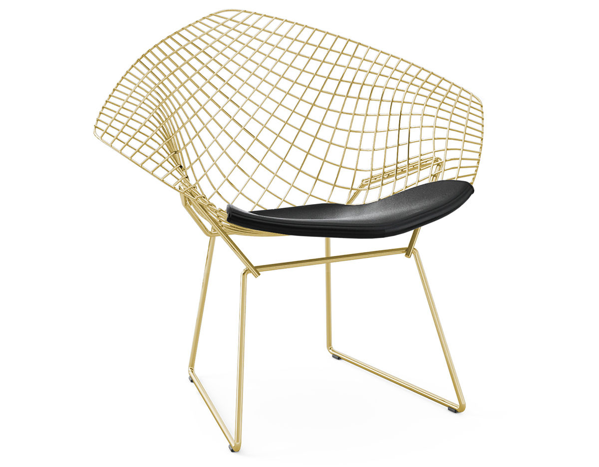 Bertoia Gold Plated Small Diamond Chair With Seat Cushion