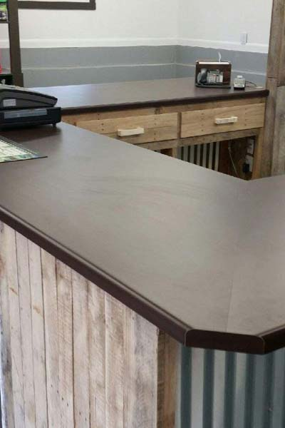 rustic commerical desk counter