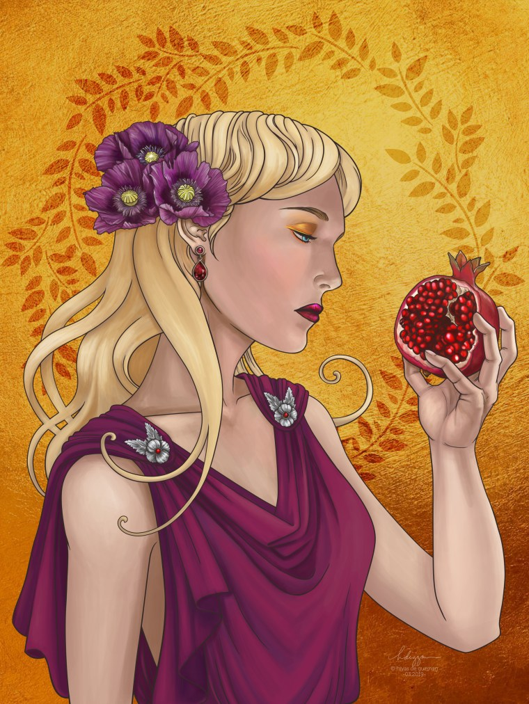 Goddess of the Dead, or Persephone holding a pomegranate Art Print