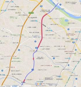 高田から下田町を経て多摩川を越える計画だが「青色」の未完成区間が多い(グーグルマップで共有されていた地図より)