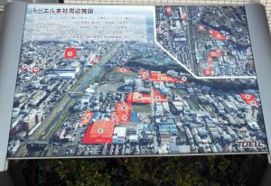トーエルは高田と新吉田エリアに多数の拠店を設けている(本社前の案内図)