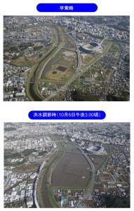 2014年10月の豪雨時には日産スタジアム周辺の遊水地に水をためて住宅地への氾濫を防いだ(京浜河川事務所の2014年10月7日発表資料より)