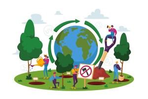 Personas animadas plantando árboles