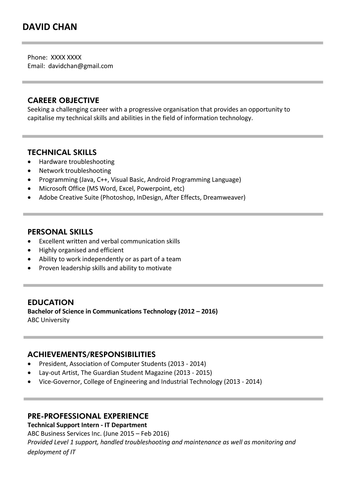 Resume Format For Graduates Resume Sample