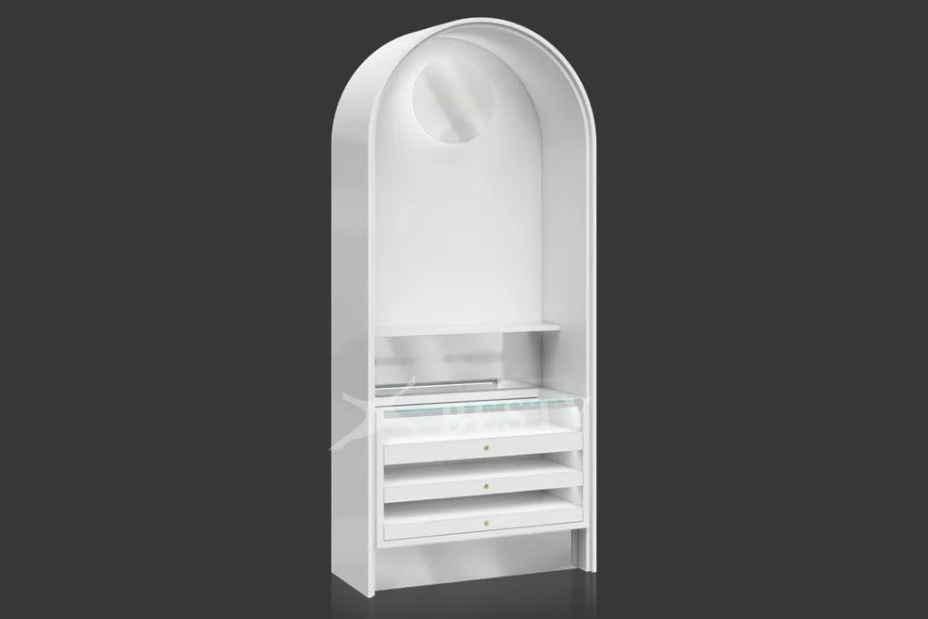 Tall Arched Display Case with Big Mirror | Besty Display