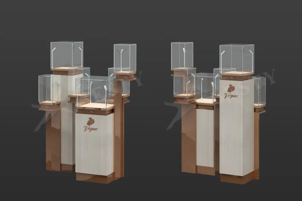 Tower Display Case Set in Rose Gold and Oak Veneer | Besty Display