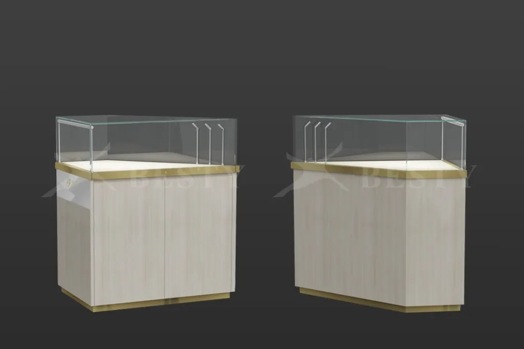 Corner Counter Showcase Front and Back | Besty Display