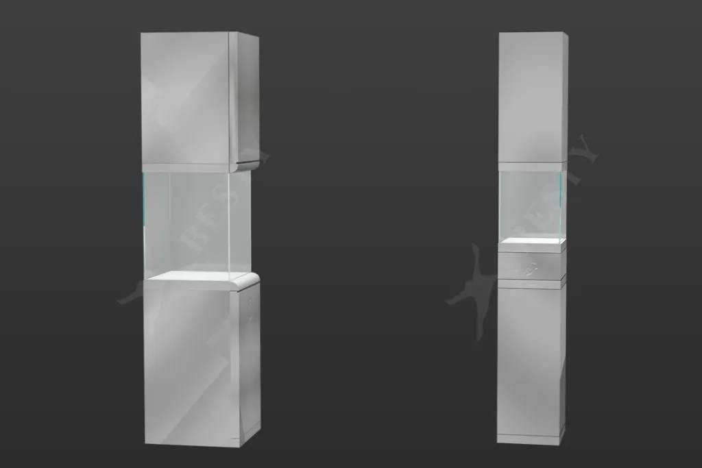 Stainless Steel Tall and Slim Tower Showcase | Besty Display