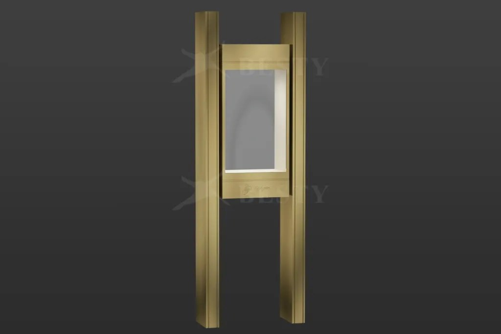 H Shape Showcase in Champagne Finish | Besty Display