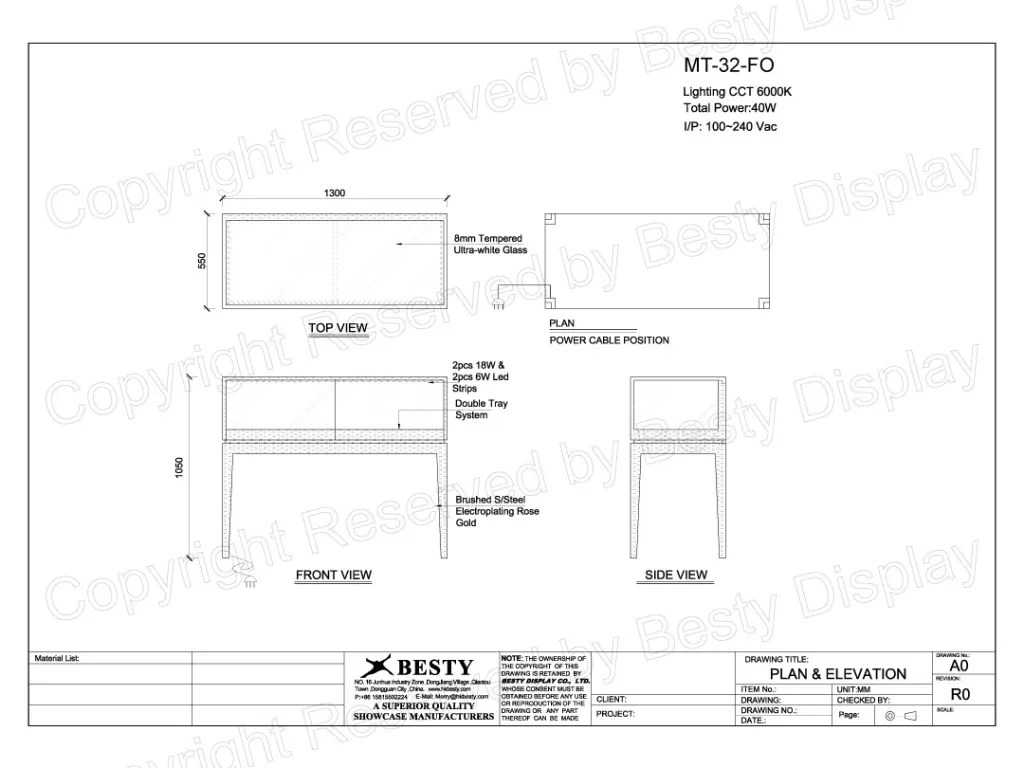 MT-32-FO Technical File Measurement   Besty Display