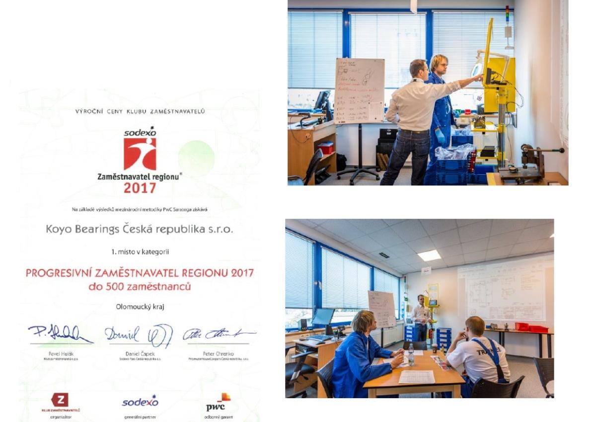 Progresivním zaměstnavatelem regionu roku 2017 se stal Olomoucký závod KOYO BEARINGS