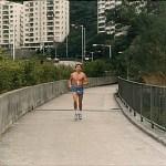 梁伯偉師傅在路上奮力向前跑 Sensei Patrick P. W. Leung, was in the marathon